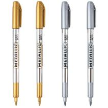 Dyvicl Premium Metallic Markers Pens - Silver and Gold Paint Pens for Black Paper, Glass, Rock Painting, Halloween Pumpkin, Gift Card Making, Scrapbook Album, Christmas DIY Art Craft Kids, Set of 4