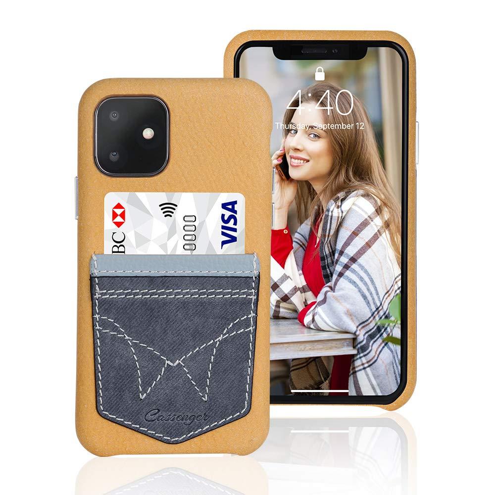 Cassenger [Jeans Pocket Series Leather Wallet Case for iPhone 11 (2019 Release) - Gelb