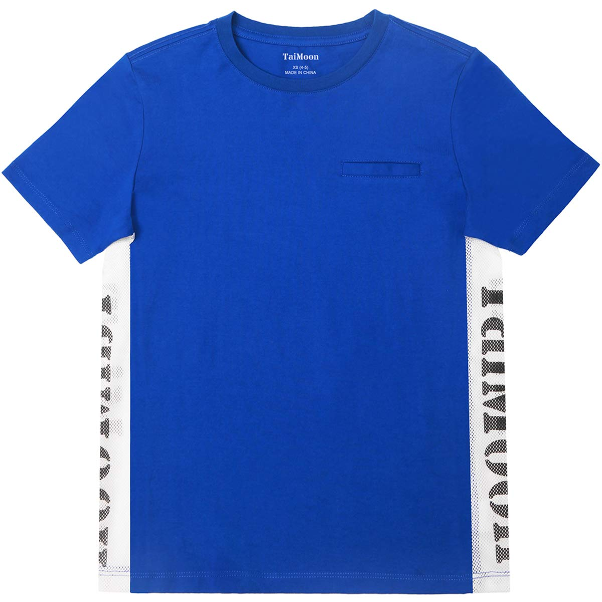 TaiMoon Boys'Blue Letters Round Neck Short Sleeve T-Shirt