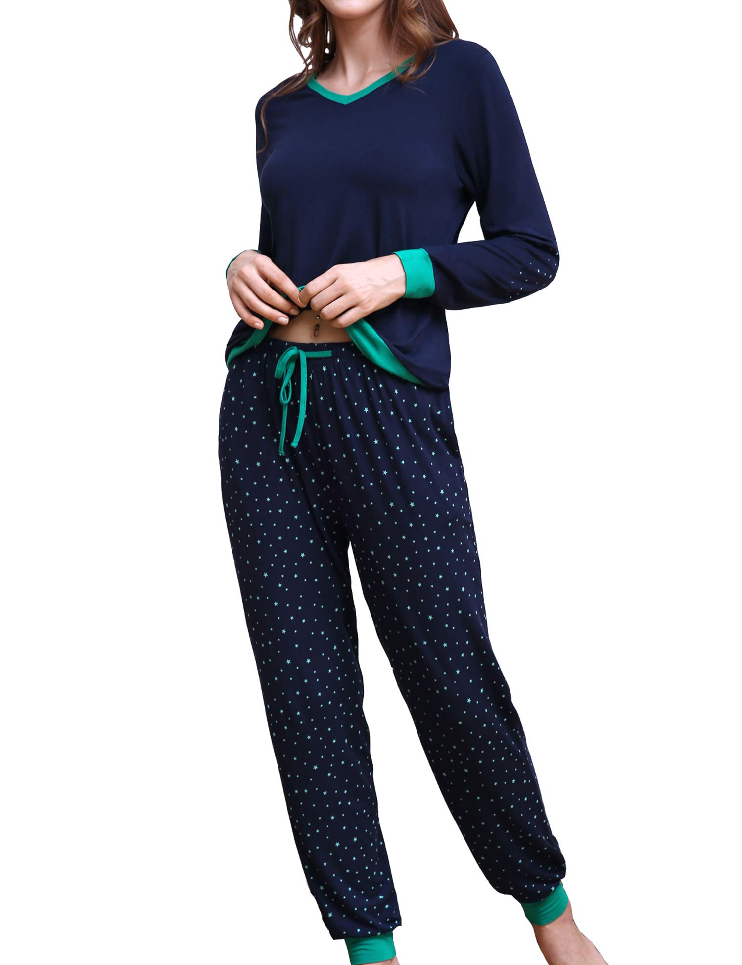 COLORFULLEAF Women's Pajama Set Printed Mother's Long Sleeve Pjs Jogger Style Lounge Pants