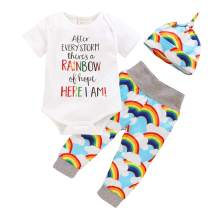 Newborn Infant Baby Boy Girl Rainbow Outfits Letter Print Onesies + Cloud Rainbow Pants + Hat Clothes Set