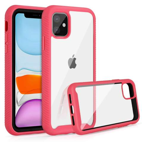 Jelanry Heavy Duty Armor for iPhone 11 Case 2-Layer Full Body Protective Shell Shockproof Sports Anti-Scratch Non-Slip Bumper Rugged Cover Hybrid Case for iPhone 11 6.1 inch Pink