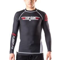 Fusion Fight Gear Top Gun Classic BJJ Rash Guard Compression Shirt- Black