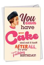 NobleWorks, Have Your Cake - Hilarious Adult Birthday Card with Envelope - Retro, Funny Adult Bday Notecard for Women C7019BDB