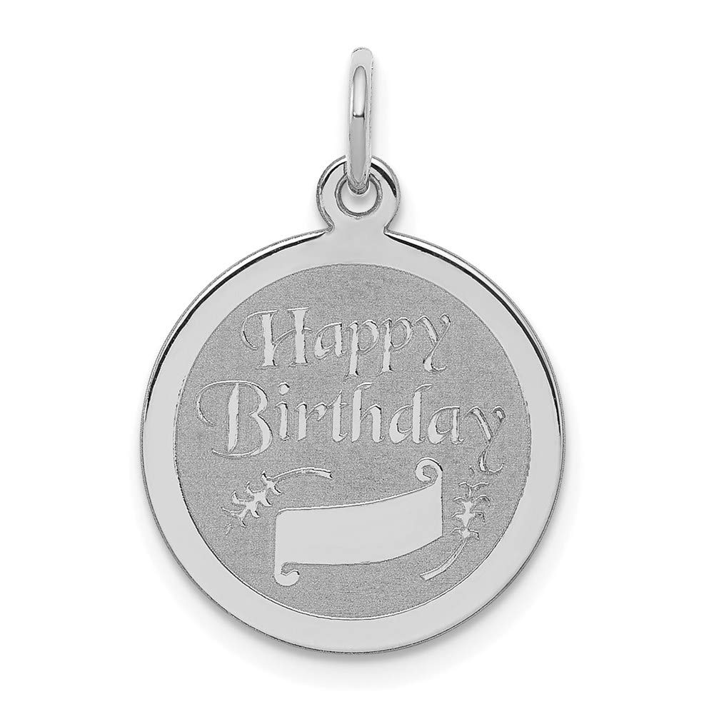 925 Sterling Silver Happy Birthday Disc Pendant Charm Necklace Special Day Fine Mothers Day Jewelry For Women Gifts For Her