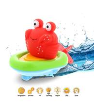 Dollibu Boat Racer Buddy, Fun Educational Bath Toy Finger Puppet Pull and Go Water Racing Sea Life Pal for Shower Pool Bathtub Swim Hard Surfaces for Baby Toddler and Boy - 6 Inch - 3 in 1 Game - Crab