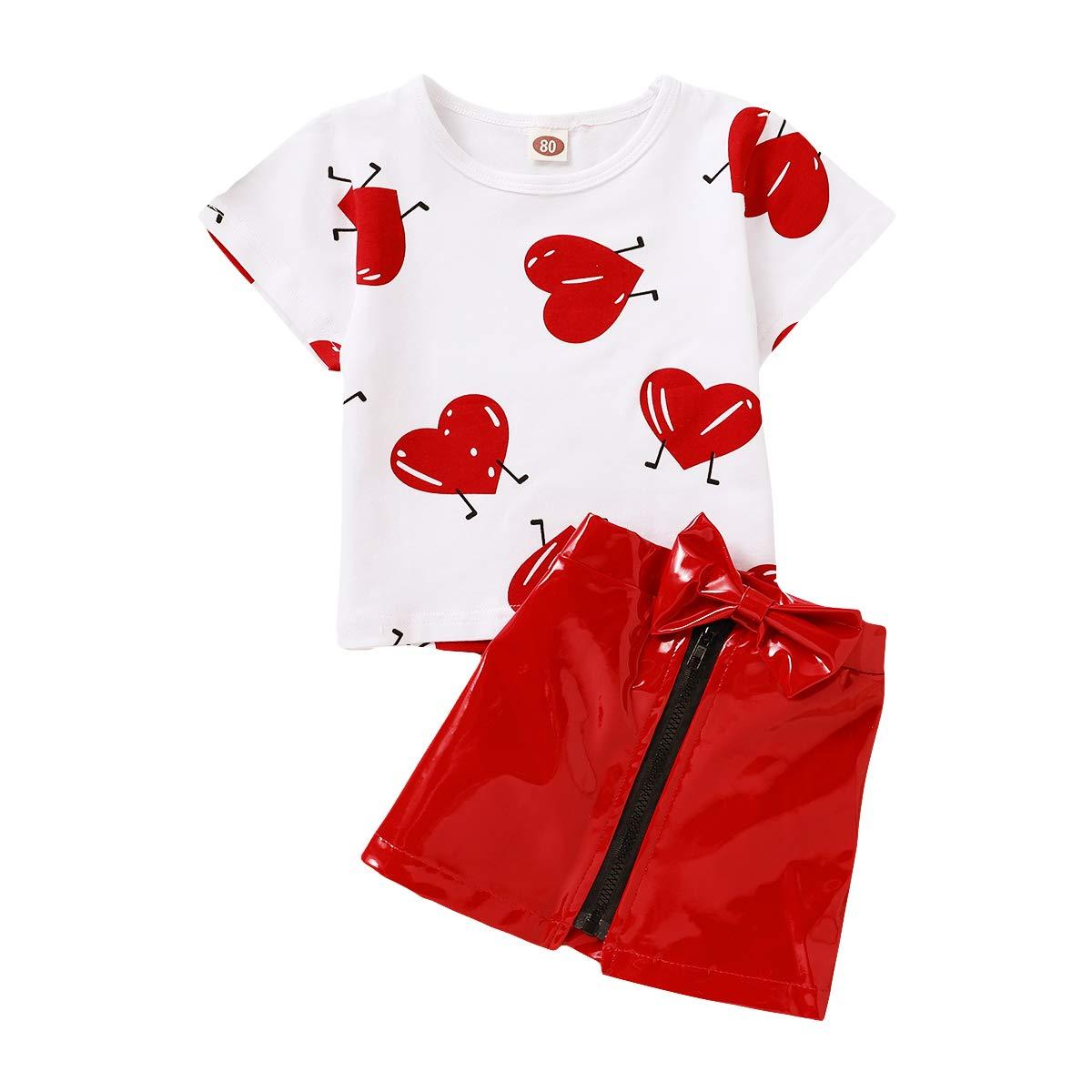 Toddler Baby Girls 2pc Leather Skirt Set Red T-Shirt Top+Red Zipper Short Dress Clothes Set