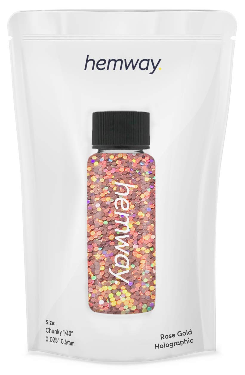 """Hemway Glitter Tube 12.8g / 0.45oz Extra Chunky 1/40"""" 0.025"""" 0.6MM Premium Sparkle Gel Nail Dust Art Powder Makeup Pigment Eyeshadow Face Body Eye Cosmetic Safe -(Rose Gold Holographic)"""