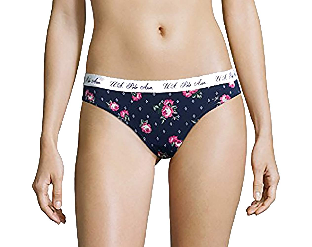 U.S. Polo Assn. Womens Multi Pack Hi Cut Elastic Waist No Panty Lines Thong Panties