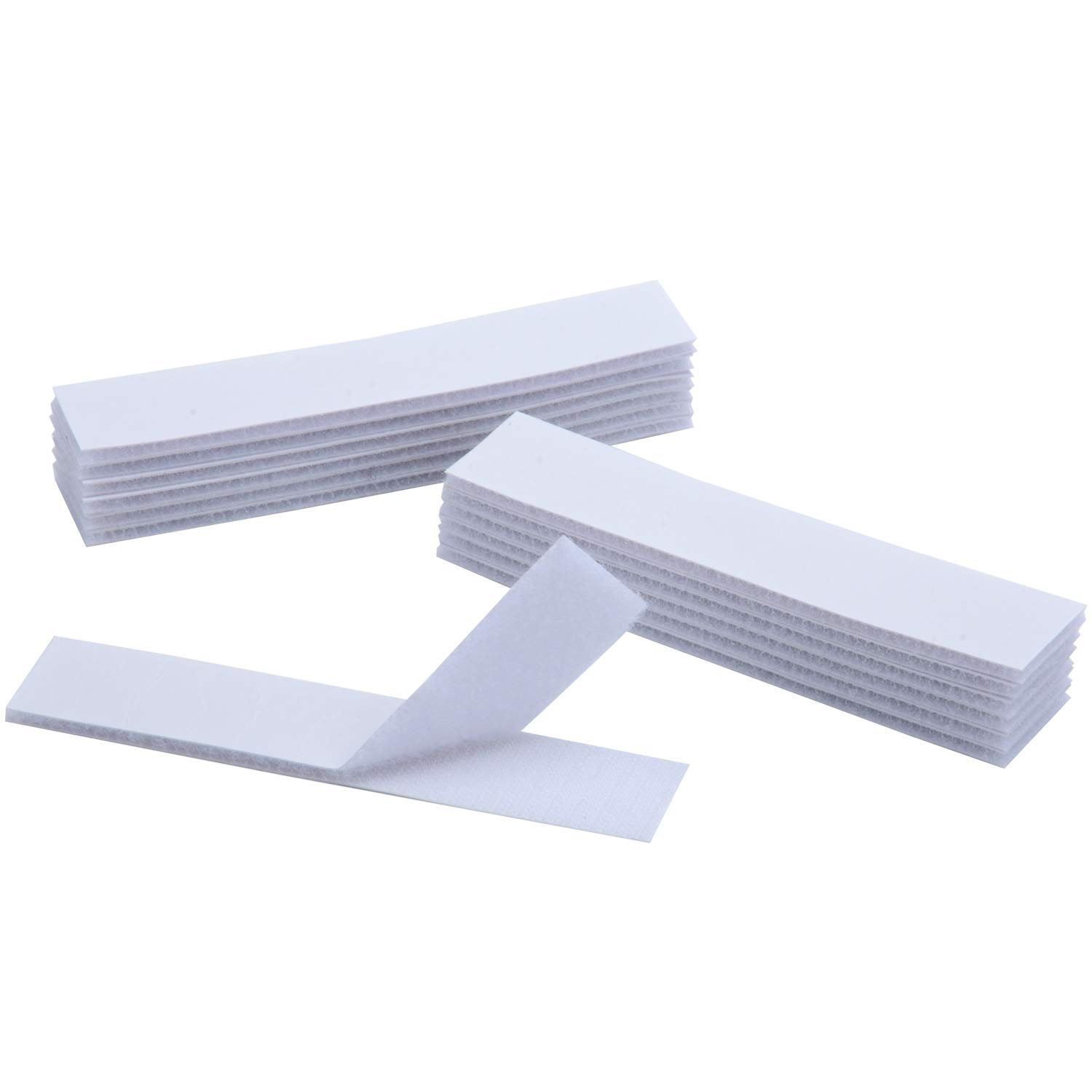 BRAVESHINE 12PCS Double Sided Mounting Squares - 1.2x6 Inch Anti-Slip Sticky Pads - Industrial Strengh Hook and Loop Strips Tape for Home or Office Use - Removable and Adhesive Carpet Gripper - White