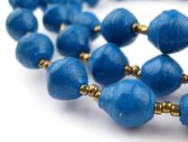 Recycled Paper Bead Necklace from Uganda - Fair Trade African Jewelry by The Bead Chest (Dark Blue)