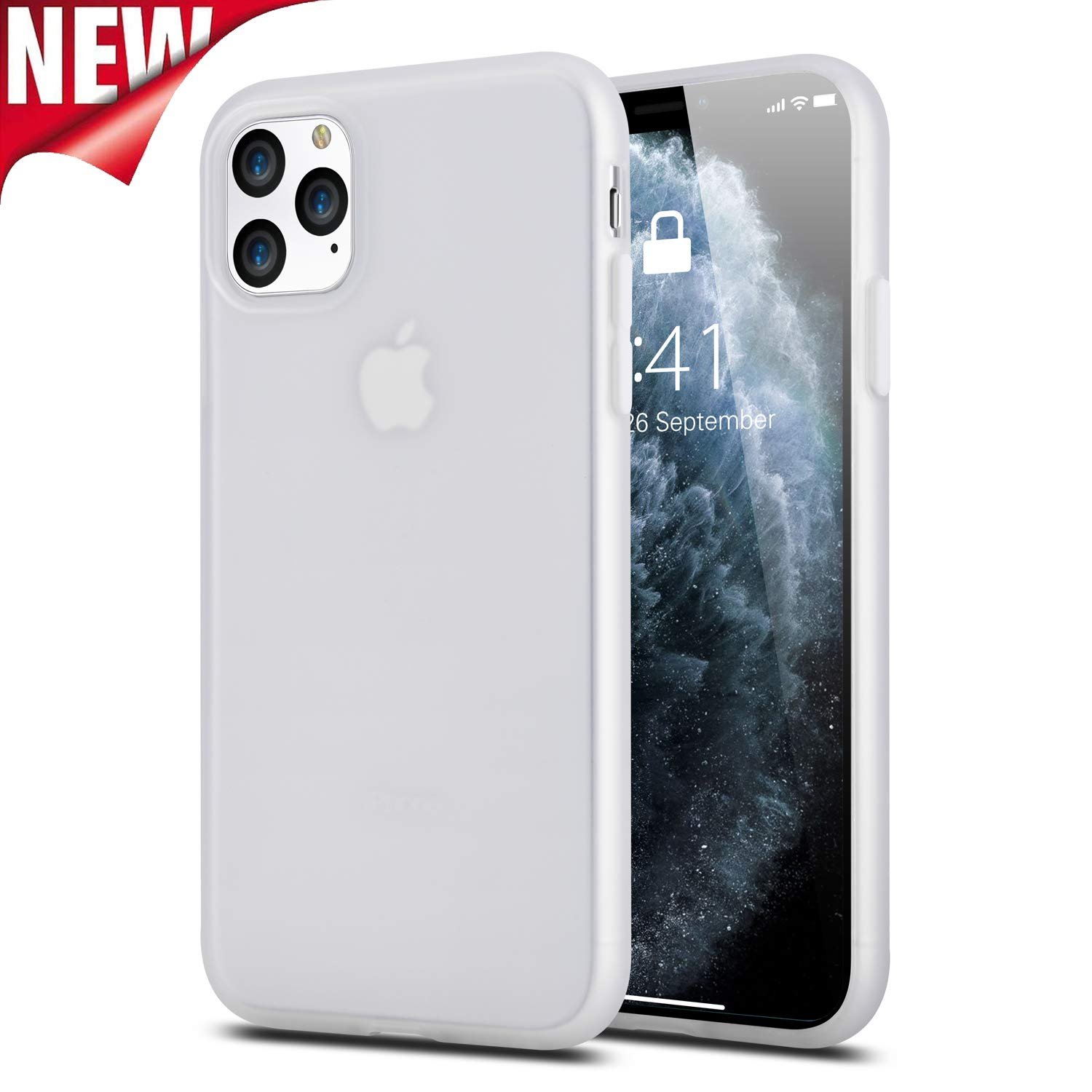 iPhone 11 Pro Max Case, Clear Matte Slim Fit Liquid Silicone Rubber Back Cover, Full-Body Shockproof Protection Non-Slip Anti-Yellow Thin Protective Phone Case for iPhone 11 Pro Max 6.5 2019, White