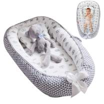 Oenbopo Baby Lounger Cotton Breathable Baby Bassinet Portable Sleeping Baby Bed for Cuddling, Lounging, Co Sleeping, Napping and Travel (Grey-1)