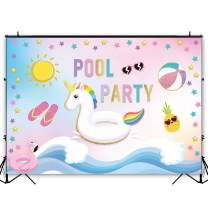 Funnytree 7x5ft Pool Party Backdrop Summer Water Wave Unicorn Flamingo Baby Shower Birthday Photography Background Swimming Ring Lifebuoy Banner Decoration Cake Table Photo Booth Props