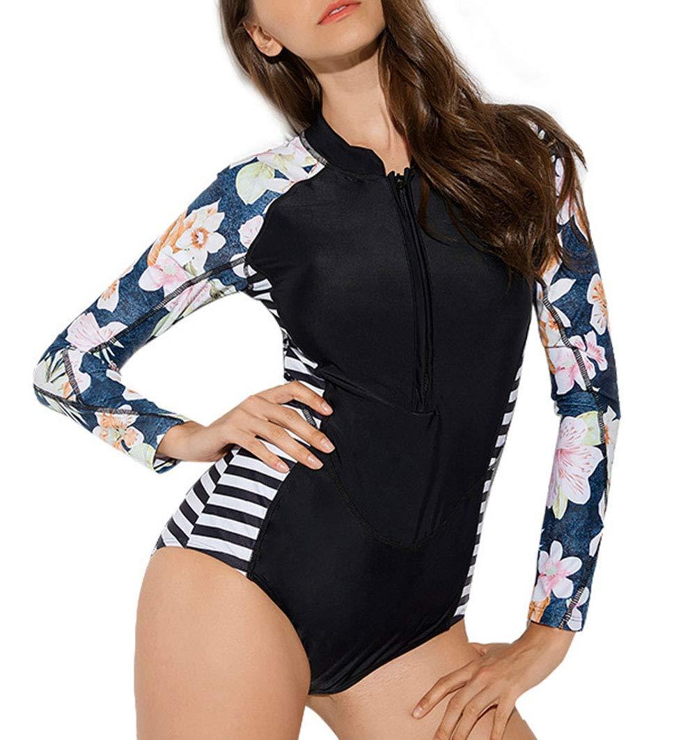 FEOYA Womens Long Sleeve Rash Guard Swimsuit One Piece UPF Sun Protection Zipper Surfing Bathing Suit Swimwear