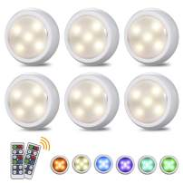 Tomshine Under Cabinet Lights Color Changing Battery Powered LED Cupboard Puck Light with Remote Control RGBW Timing for Kitchen Closet Counter Wall 6 Pack 3AAA (Battery Not Include)