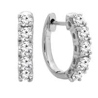Dazzlingrock Collection 0.50 Carat (ctw) 14K Gold Real Round Cut White Diamond Ladies Huggies Hoop Earrings