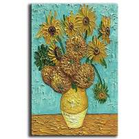 YaSheng Art - Van Gogh Oil Paintings On Canvas Sunflower Flower Artwork Modern hand-painted Flowers Art Pictures Home Office Decorations Canvas Wall Art Painting Ready to hang 24x36inch