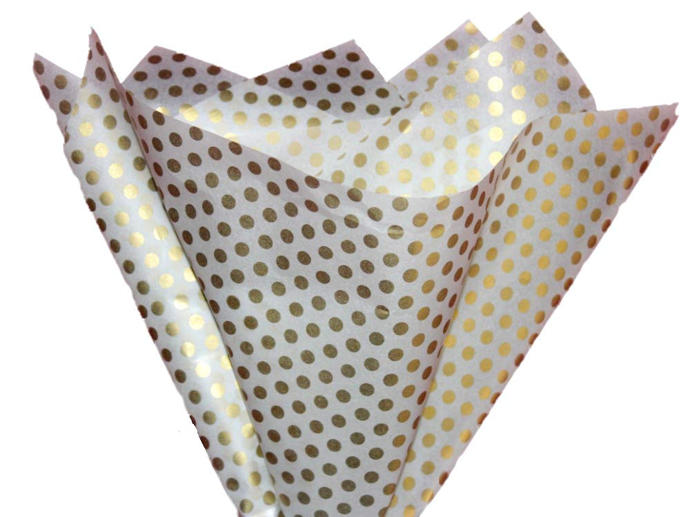 Tissue Paper Gift Wrap Bulk All Colors Wrapping 100 200 300 or 500 Sheets 15 x 20 Assorted Black Blue Fuchsia Gold Green Orange Pink Purple Red Silver White Yellow (Gold Dots, 75 Sheets)