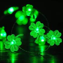 BOHON Decorative Lights Shamrocks LED String Lights Battery Operated with Remote 10 ft 40 LEDs Lucky Clover Handmade String Lights for Bedroom Party Feast of St. Patrick's Day Green Decoration