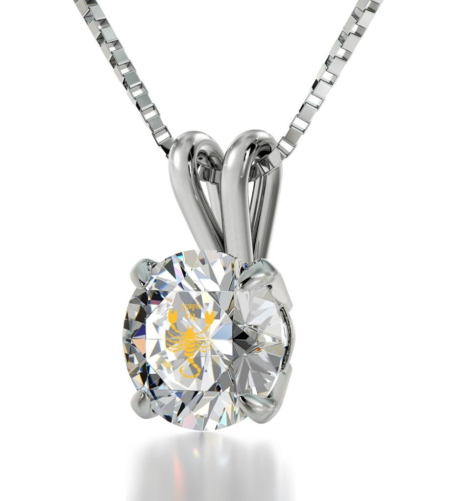 """925 Sterling Silver Scorpio Necklace Zodiac Pendant for Birthdays 24th October to 22nd November 24k Gold Inscribed with Star Sign and Symbol on Solitaire Set Swarovski Crystal Stone, 18"""" Chain"""