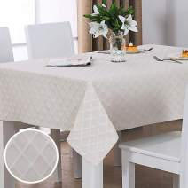 Twin Six Jacquard Tablecloth Polyester Cotton Blend with Metallic, Spill-Proof, Water and Oil Resistant for Wedding or Parties (Grid Pattern, 60x60,Rectangle, Nature White)