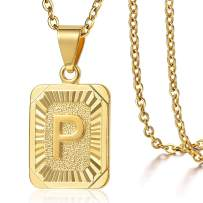 Trendsmax Rectangle Initial Letter Pendant Charm for Mens Womens Gold Plated Capital Letter Pendant Necklace Rolo Chain 18inch