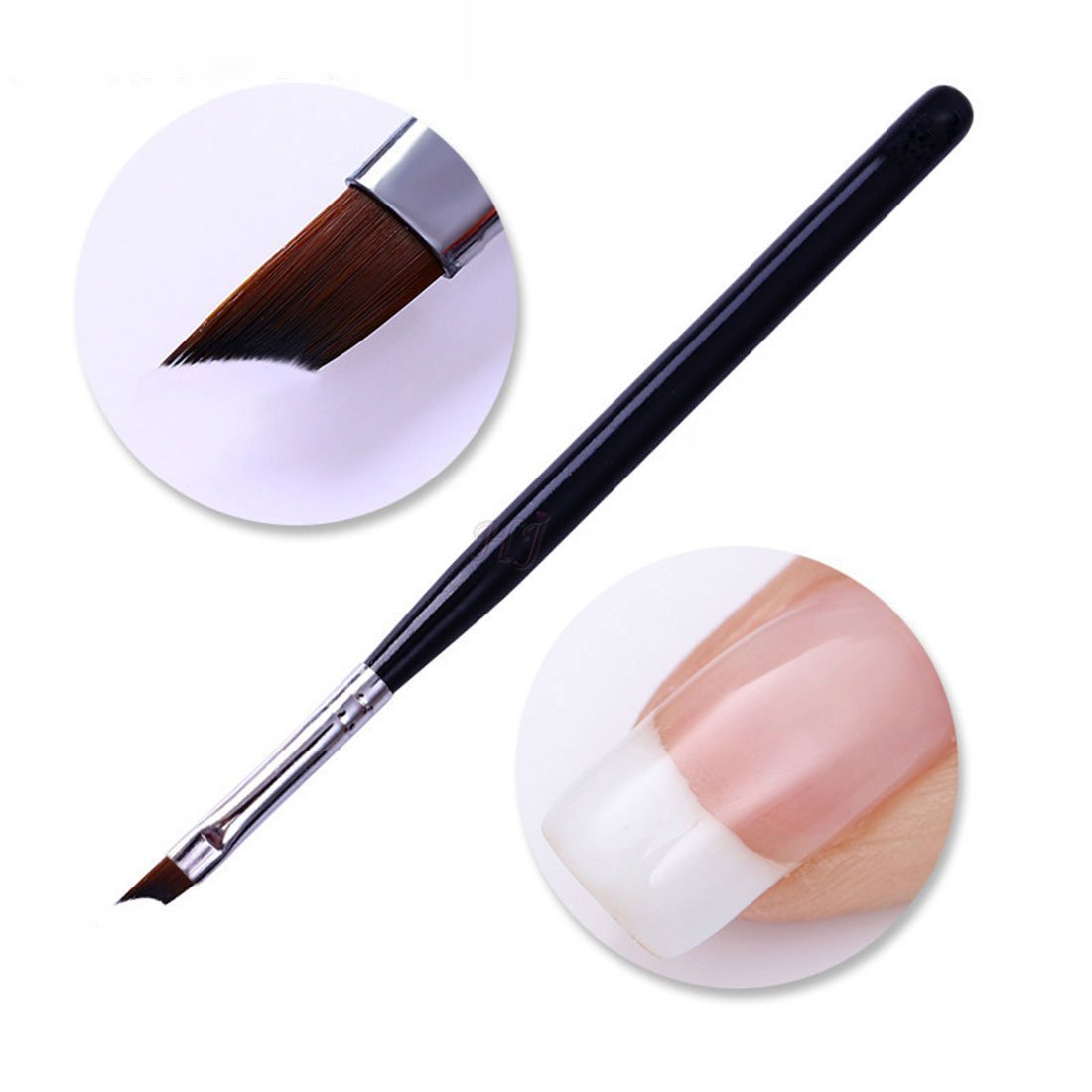 Oblique Head French Tip Nail Brush Black Handle UV Gel Acrylic Painting Drawing Pen Pack of 1