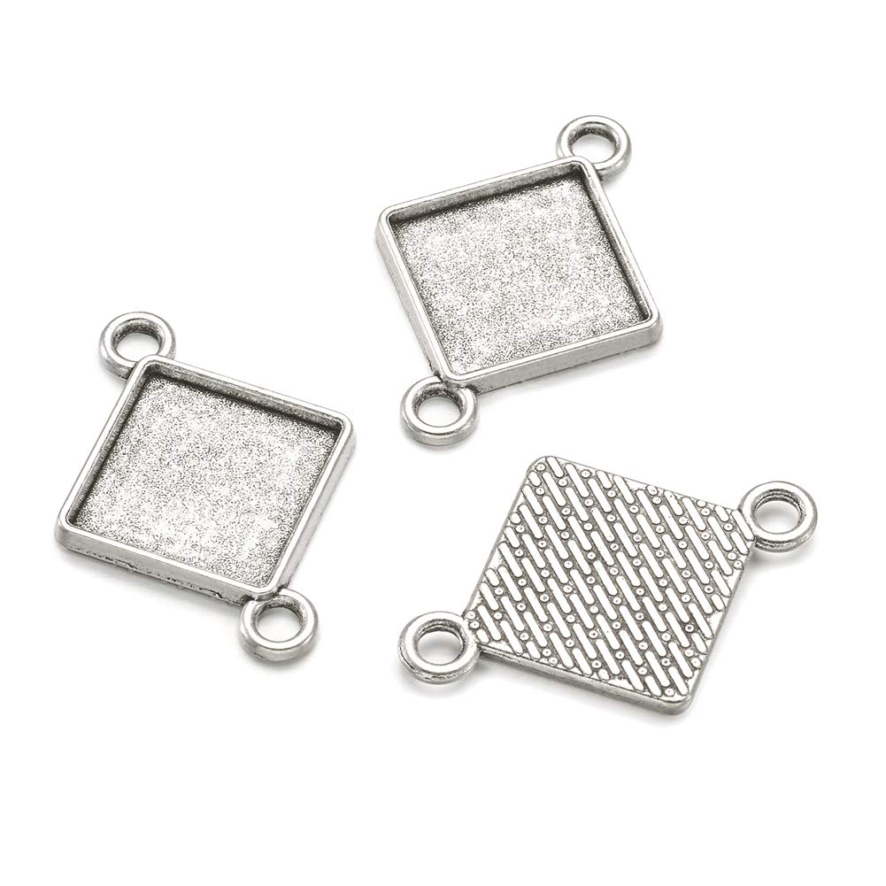 Pandahall 10pcs Vintage Tibetan Style Antique Silver Blank Bezel Cabochon Settings 15x15mm Inner Diameter Rhombus Square Frame Pendant Tray Chandelier Link Connector Charms