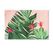 JAPO ART - Tropical Paradise by PI Creative Art Modern Canvas Print Plants Wall Pictures Vintage Giclee Print on Canvas Stretched for Living Room Bedroom 16 x 24 Inch