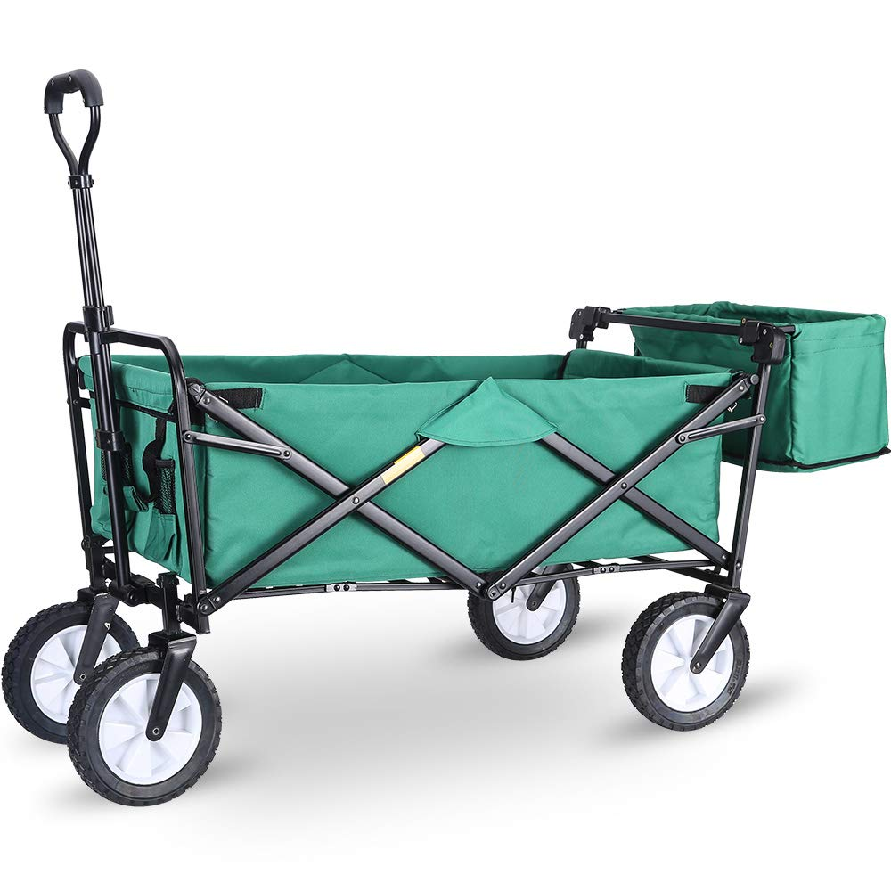 """WHITSUNDAY Collapsible Folding Garden Outdoor Park Utility Wagon Picnic Camping Cart with Replaceable Cover (Standard Size 8"""" Wheels with Rear Storage, Green)"""
