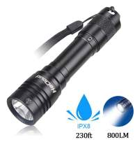 Garberiel 800 Lumen IPX8 LED Waterproof Flashlight for Diving Rechargeable Scuba Dive Lights 230ft Underwater LED Torch with Battery and Charger