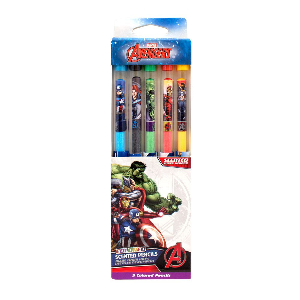 Scentco Marvel Avengers Colored Smencils - Scented Coloring Pencils, 5 Count