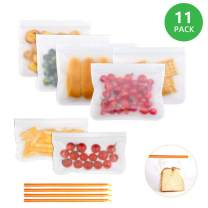 Reusable Storage Bags - 7 Pack Airtight Freezer Bags include 5 Reusable Sandwich Bags and 2 Reusable Snack Bags Give 4 Sealing Clamp