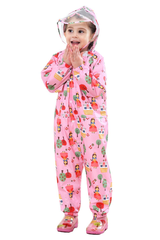 Vmonyco Kids-Raincoat Toddler-Rainsuit One-Piece Rainwear Girls - Waterproof Lightweight Rain Coats/Jacket Boys