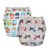 SILKWORLD 2 Pack Baby Reusable Swim Diaper Adjustable Snap, Fit Unisex Babies 0-2 Years(6-28lbs) for Swimming Lessons, Birds, Puppy