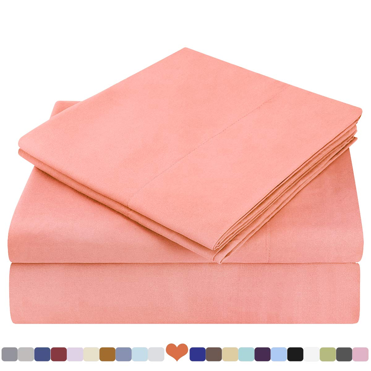 HOMEIDEAS Bed Sheets Set Extra Soft Brushed Microfiber 1800 Bedding Sheets - Deep Pocket, Wrinkle & Fade Free - 4 Piece(Queen,Coral)