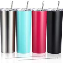 4 Pack Classic Tumbler Stainless Steel Double-Insulated Water Tumbler Cup with Lid and Straw Vacuum Travel Mug Gift with Cleaning Brush (Rose Red/Matte Silver/Black/Aqua Blue, 20 oz)