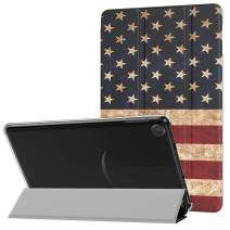 MoKo Case Fits All-New Amazon Kindle Fire 7 Tablet (9th Generation, 2019 Release), PU Leather Trifold Stand Cover Frosted Clear Backshell with Auto Wake/Sleep - US Flag