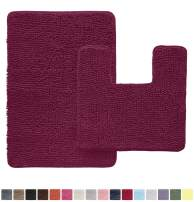 Gorilla Grip Original Shaggy Chenille 2 Piece Area Rug Set, Includes Square U-Shape Contoured Toilet Mat & 30x20 Bathroom Rugs, Machine Wash/Dry Mats, Plush Rugs for Tub Shower & Bath Room, Eggplant