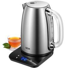 DEIK Electric Kettle, 2020 Upgrade Version 1.7L Temperature Control Tea Kettle with Digital LCD Base, Food Grade 304 Stainless Steel BPA-Free, 120 Mins Keep Warm & Variable Temperature,1500W Rapid Boil, Elegant Glass Handle for Safe Concept