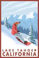 Lake Tahoe, California - Snowboarder Scene (12x18 Art Print, Wall Decor Travel Poster)