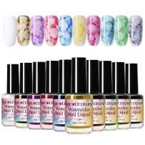 NICOLE DIARY Blossom Nail Polish Watercolor Marble Nail Ink Gel Flower Nail Art Varnish DIY Design(15ml, 10 colors)
