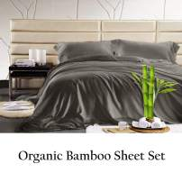 JVIN FAB 100% Sheet - Super Soft & Cool   Luxurious Satin Weave Soft Bed Sheets Eco Friendly, Cool  4 Piece Sheets (King, Elephant Grey)