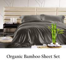 JVIN FAB 100% Sheet - Super Soft & Cool | Luxurious Satin Weave Soft Bed Sheets Eco Friendly, Cool| 4 Piece Sheets (King, Elephant Grey)