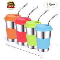 ShineMe Stainless Steel Drinking Cups with Lids and Straws, 4 Pack Reusable 16oz Tumblers with Brush for Adults, Kids and Toddlers, Apply to Parties, Dining, Outdoor