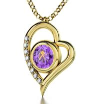 "Gold Plated Aquarius Heart Necklace Zodiac Pendant for Birthdays 20th January to 18th February 24k Gold Inscribed with Star Sign and Symbol on Swarovski Crystal Stone, 18"" Gold Filled Chain"