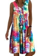 HUTORUL Women's Summer Casual Bohemian V-Neck Floral Dress