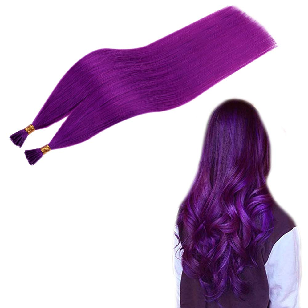 RUNATURE Remy Hair Stick Tip Extensions Remy Hair 18 Inches 1g Per Set 25 Strands Highlights Color Purple Pre Bonded Hair Extension Keratin I Tip Hair Extensions Human Hair