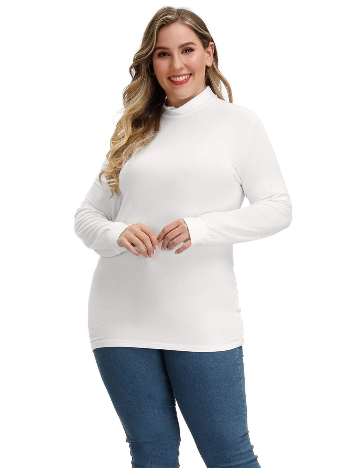 Hanna Nikole Plus Size Women Basic Soft Long Sleeve Mock Pullover Turtleneck Tops